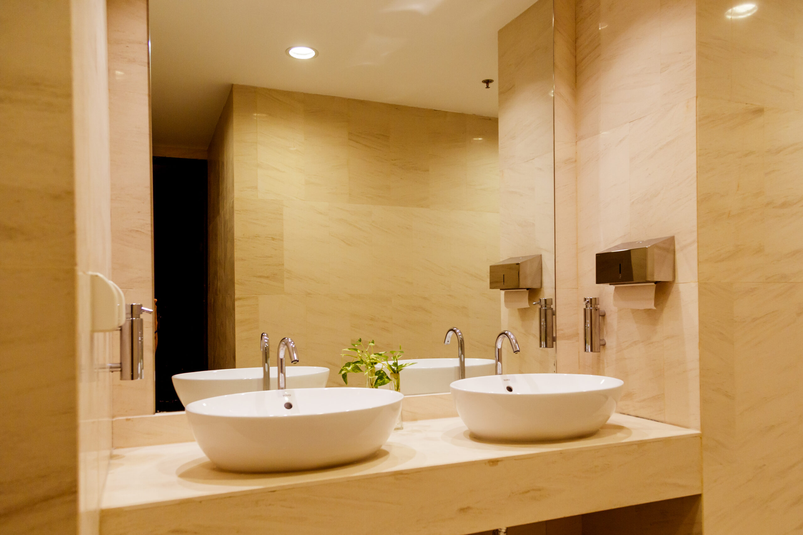 Stylish double bathroom interior